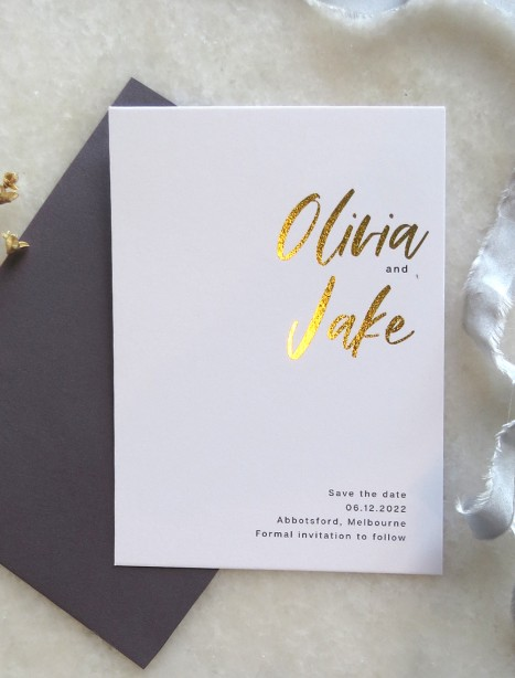 save the date olivia gold and rose gold foil