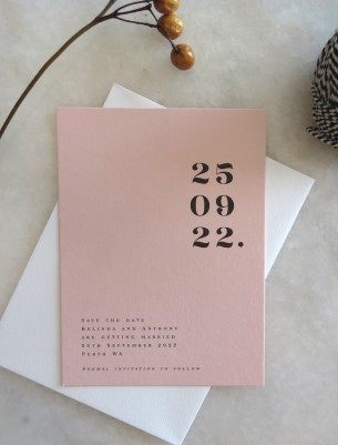 save the date! Numbers game in blush