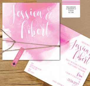 abstract splash watercolor flat card invitation