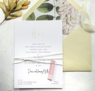 metallic gold and rose gold foil anna invitation