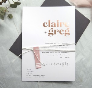 Metallic rose gold foil! Pure invitation