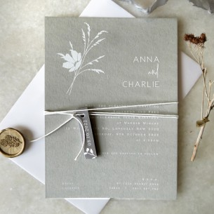 Whimsical white ink wedding invitation