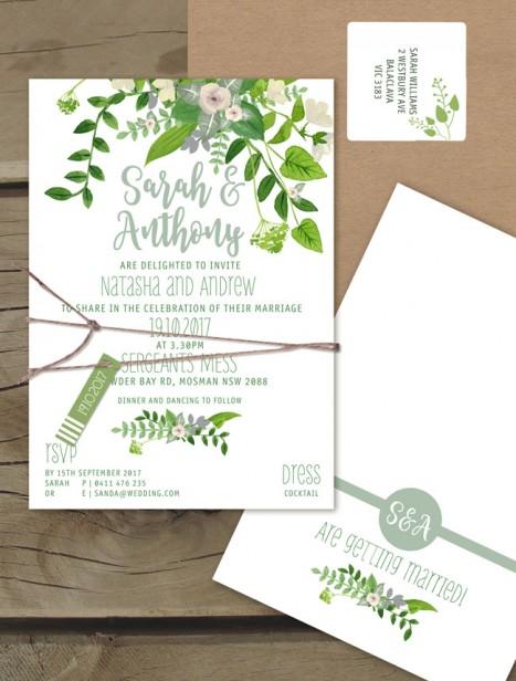 Plant Life Flat Card Invitation Online Australia Lilykiss
