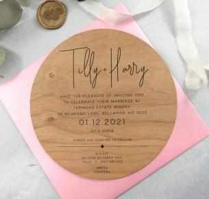 Printed on Wood! Tilly circle invitation