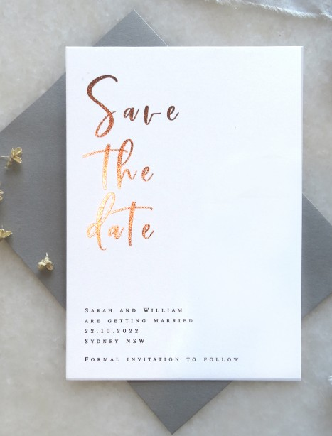save the date! sweetie rose gold and gold foil
