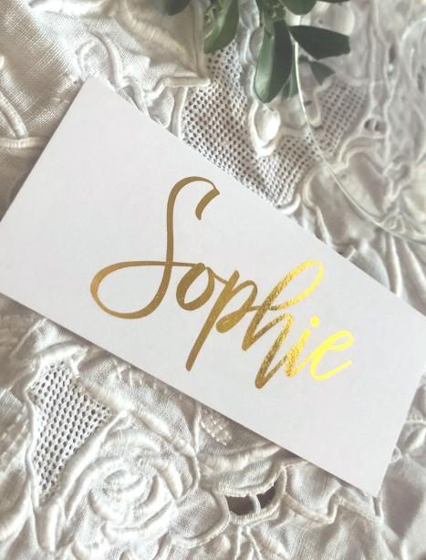 sophie gold foil placecards