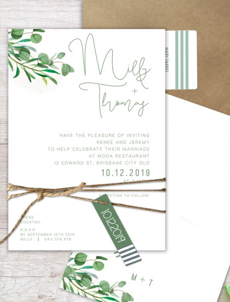 eucalypt fresh flat card wedding invitation