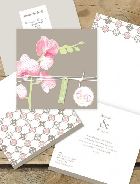 Orchid Delight Wedding Invitation line Australia