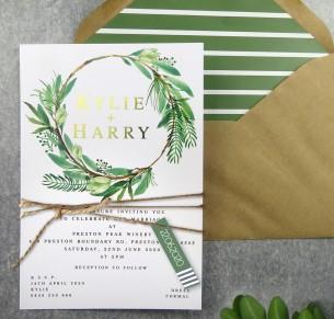 metallic rose gold and gold foil watercolour wreath invitation