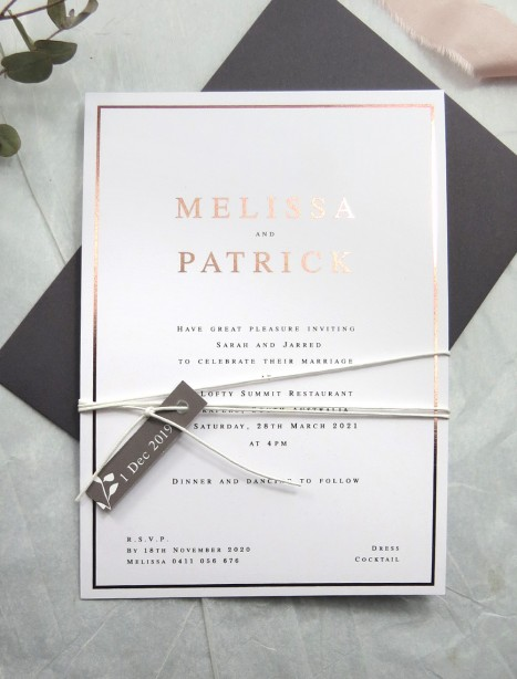 metallic Rose gold and golf foil! Eternal invitation