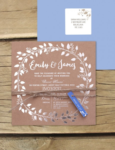 metallic foil silver! grecian garland invitation