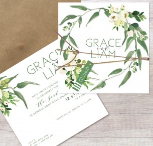 gypsy flat card wedding invitation