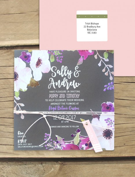 Flowers in the field white ink and colour invitation
