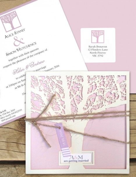 Enchanted tree laser cut invitation milk