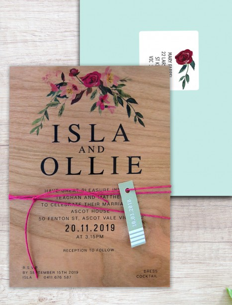 Printed in wood! Flower market invitation