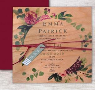 printed on wood! wild flower invitation