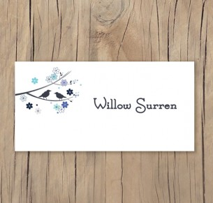 bird and blossom placecard