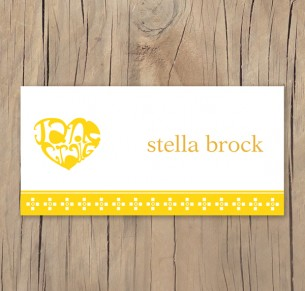 heart typography placecard
