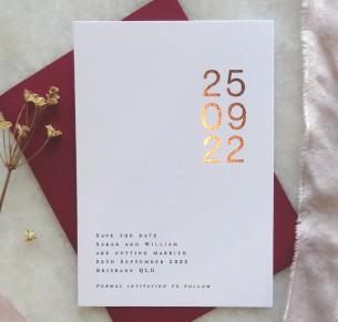 save the date! metallic gold and rose gold san serif