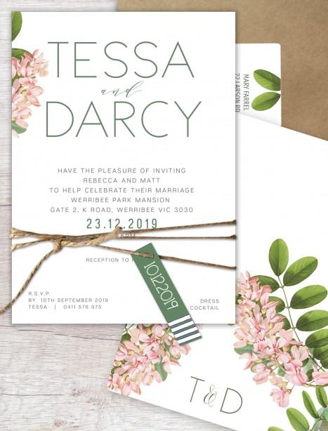 Camilla flat card wedding invitation