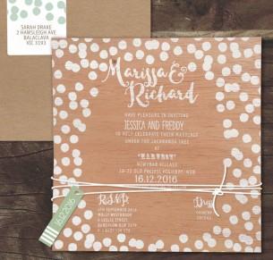 White ink on wood! Confetti joy invitation
