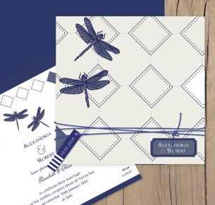 Dragon flies wedding invitation