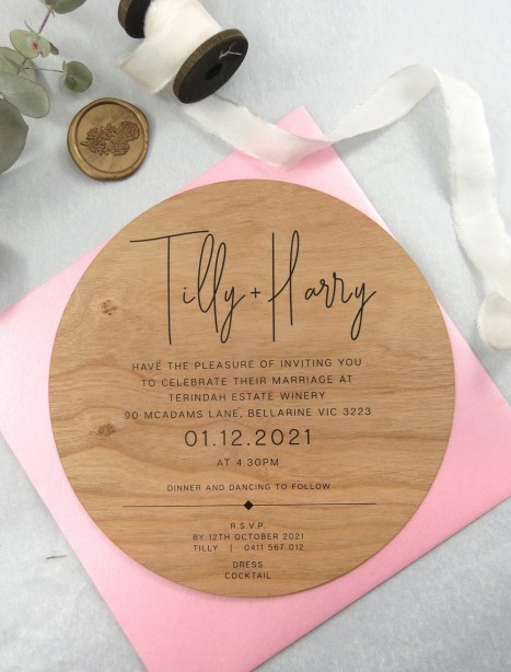 Printed on Wood! Tilly circle invitation
