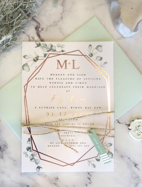 Geo gum rose gold foil wedding invitation