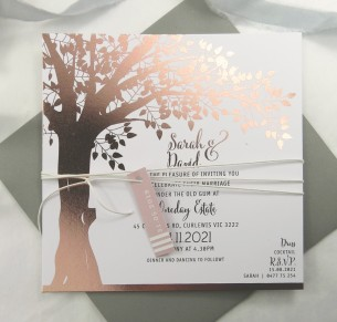 metallic rose gold and gold foil! under the oak invitation