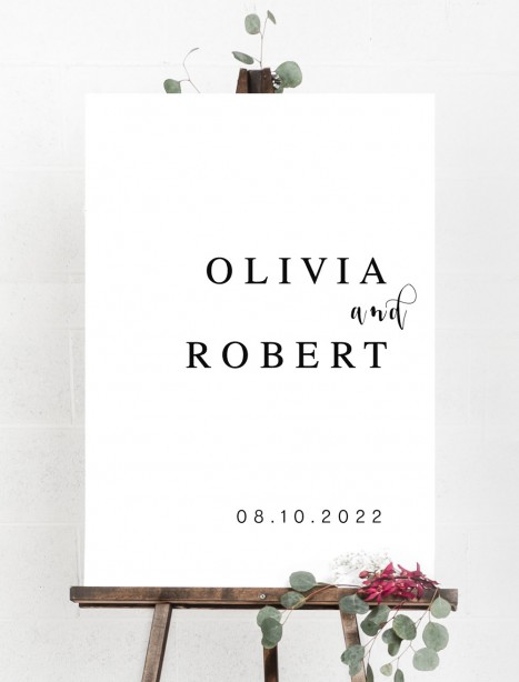 olivia welcome sign A1 mounted sturdy board