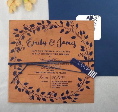 printed on wood! grecian garland invitation