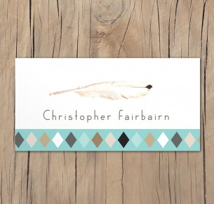 boho feathers placecard