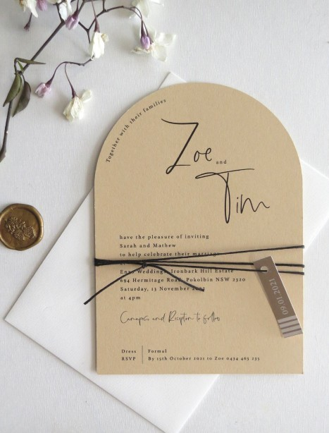 blush the brad arch wedding invitation