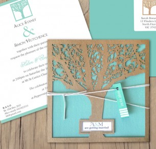 Enchanted tree recycled kraft laser cut invitaton