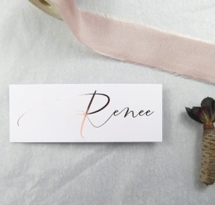 metallic rose and gold foil oh so chic placecard