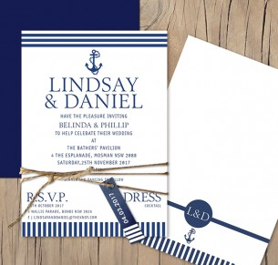 Salty love flat card wedding invitation
