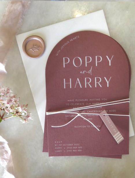 poppy arch white ink wedding invitation