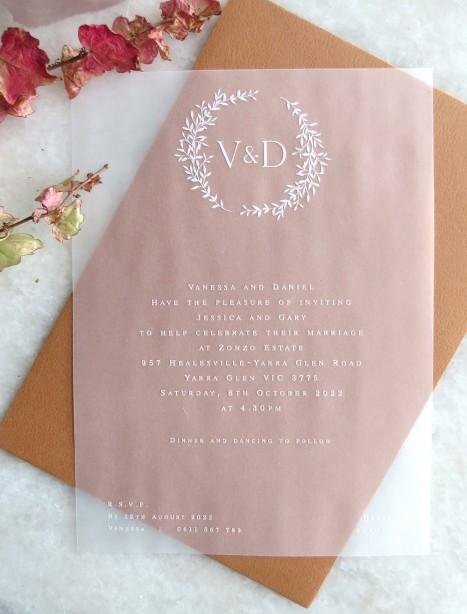 Transparent vellum Arrezo invitations