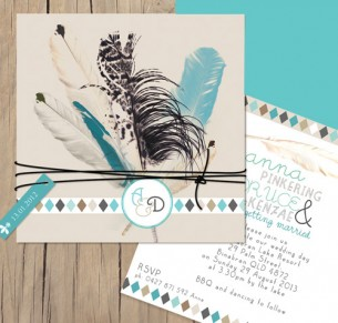 boho feathers invitation