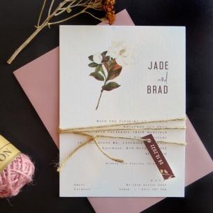 Steal Magnolias flat card wedding invitation