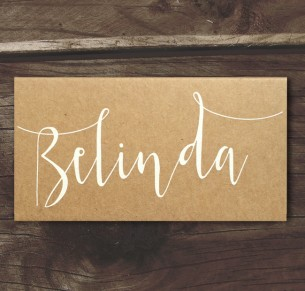 Simply sublime white ink on kraft placecard