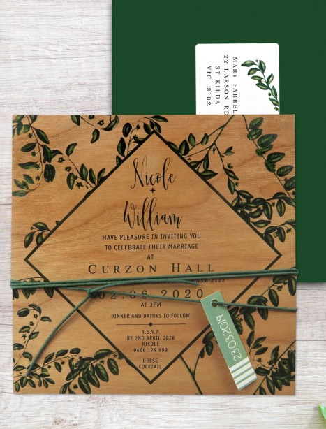 printed on wood! perennial invitation