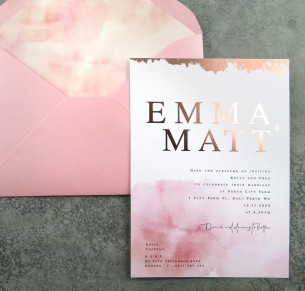 metallic rose gold foil! blushed watercolour invitation