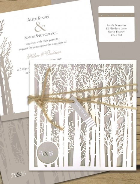 Endless Forest Laser Cut Wedding Invitation Online Australia