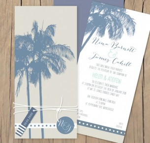 Beach palm flat card invitation
