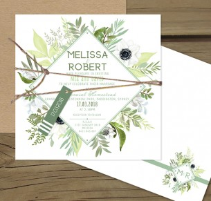 Evergreen flat card invitation