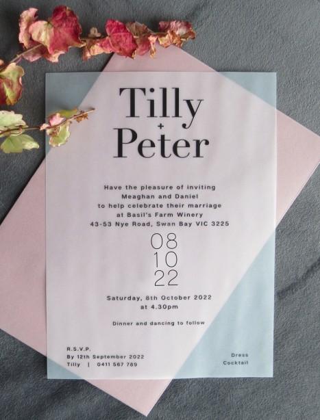 Transparent vellum Belle wedding invitation