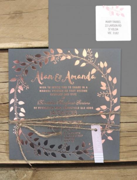 Foil on coloured cardl! Grecian garland invitation