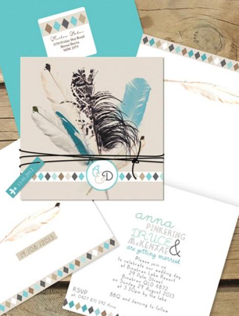 boho feathers invitation