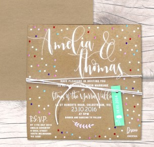 Dream dust white+colour on kraft invitation
